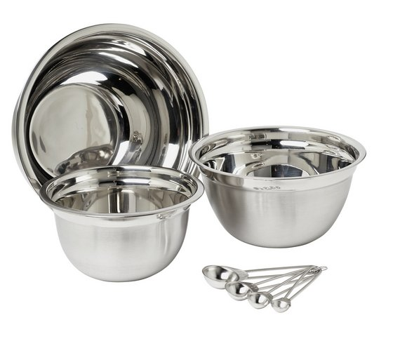 Buy Argos Home 3 Piece Mixing Bowl & Spoon Set - Stainless Steel ...