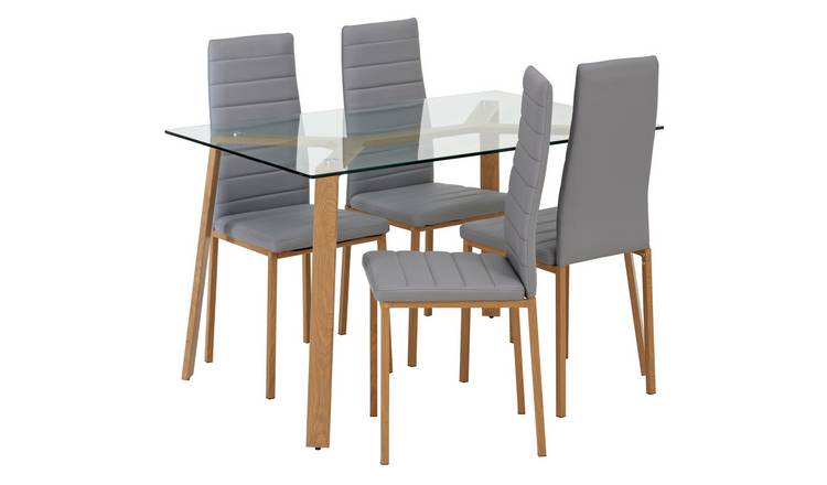 Argos Home Helena Glass Dining Table & 4 Grey Chairs
