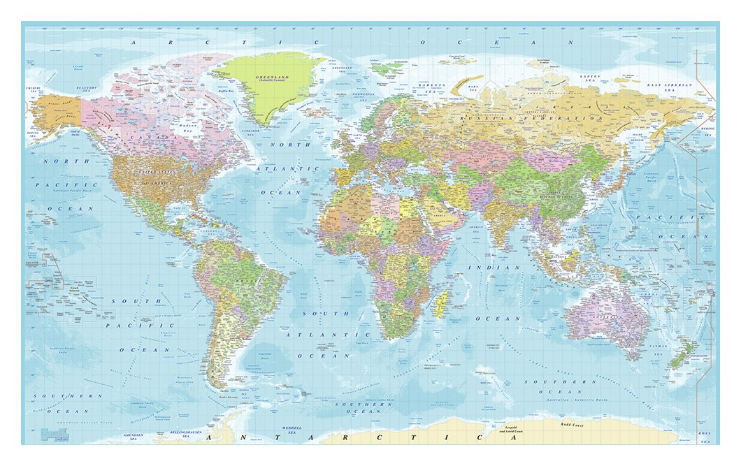 1Wall World Map Wall Mural.