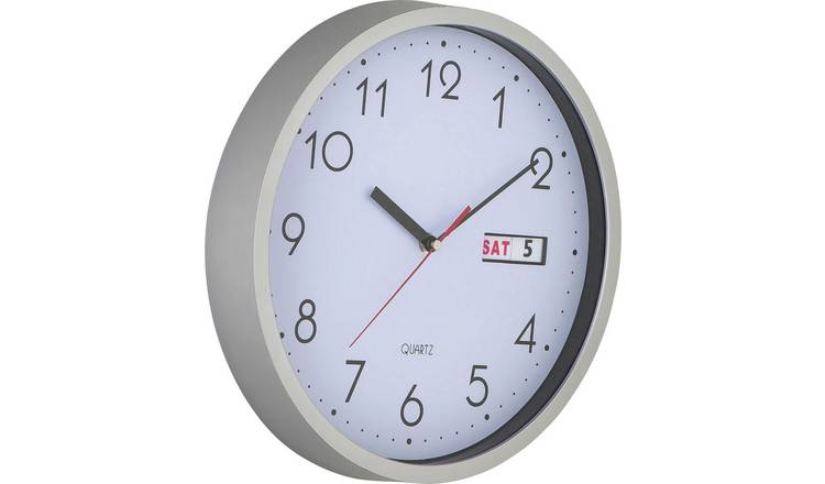 Buy Argos Home Day And Date Wall Clock Silver Clocks