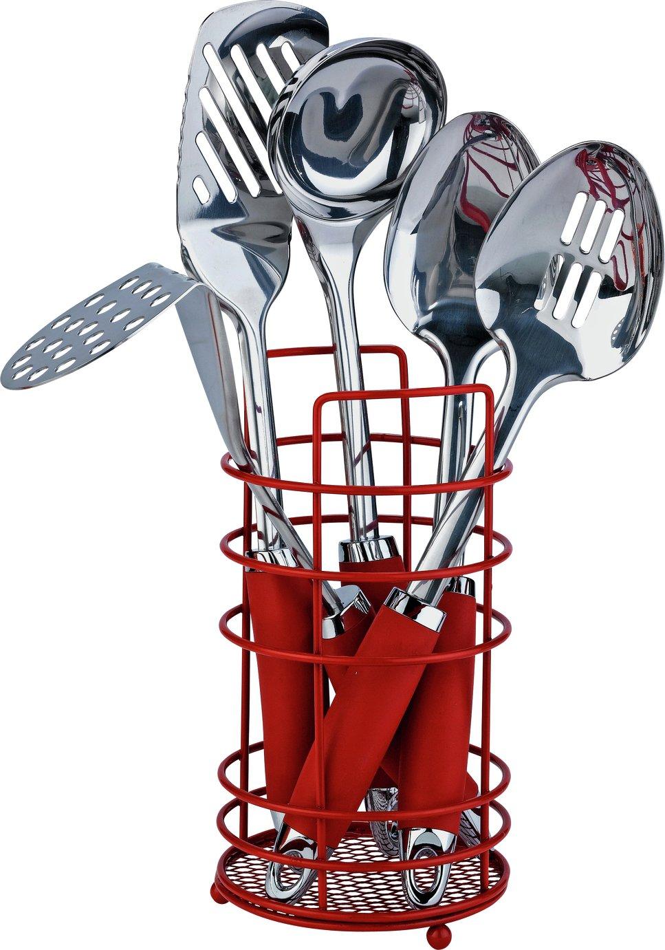 Argos Home Stainless Steel 5 Pc Kitchen Utensil Set - Red