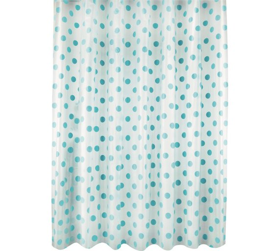 Buy HOME Polka Dot Shower Curtain - Blue   Shower curtains and poles ...
