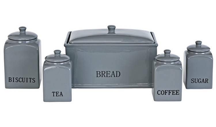 Argos Home Bistro 5 Piece Ceramic Storage Set - Grey