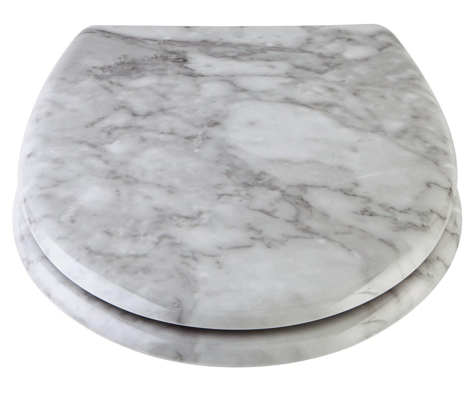 Argos Home Marble Design Toilet Seat - White