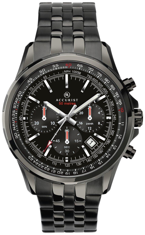 Image of Accurist Men's Black IP Stainless Steel Bracelet Watch