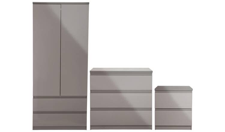 Habitat Jenson Gloss 3 Piece 2 Door Wardrobe Set - Grey