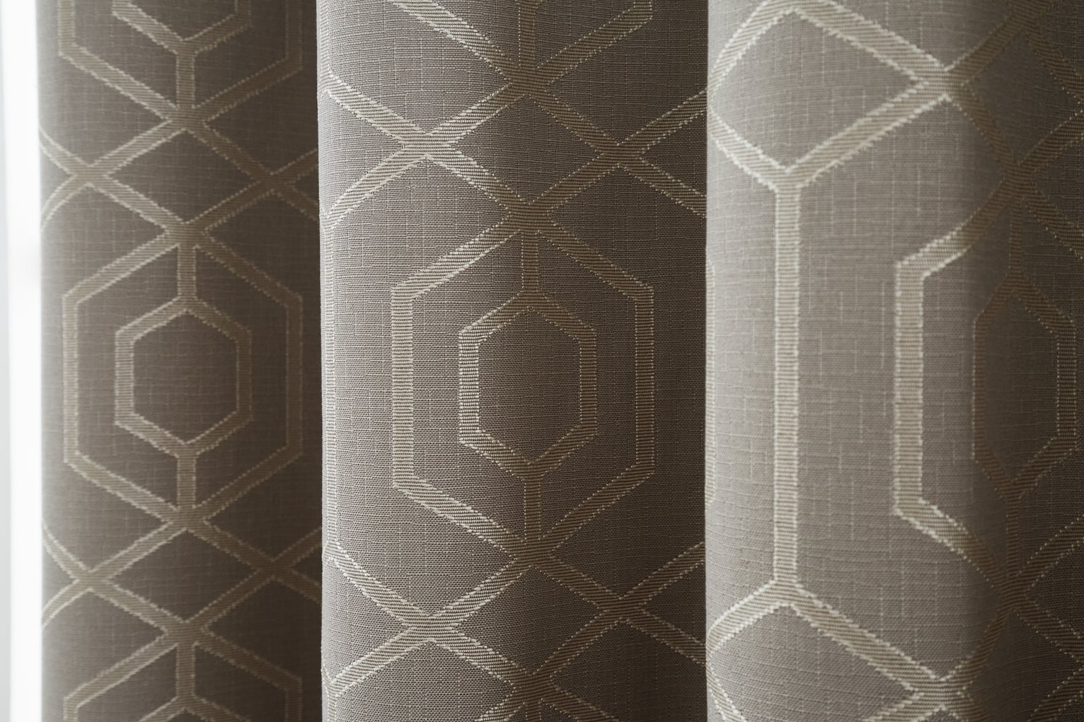 Curtina Camberwell Eyelet Curtains - 117x137cm - Stone