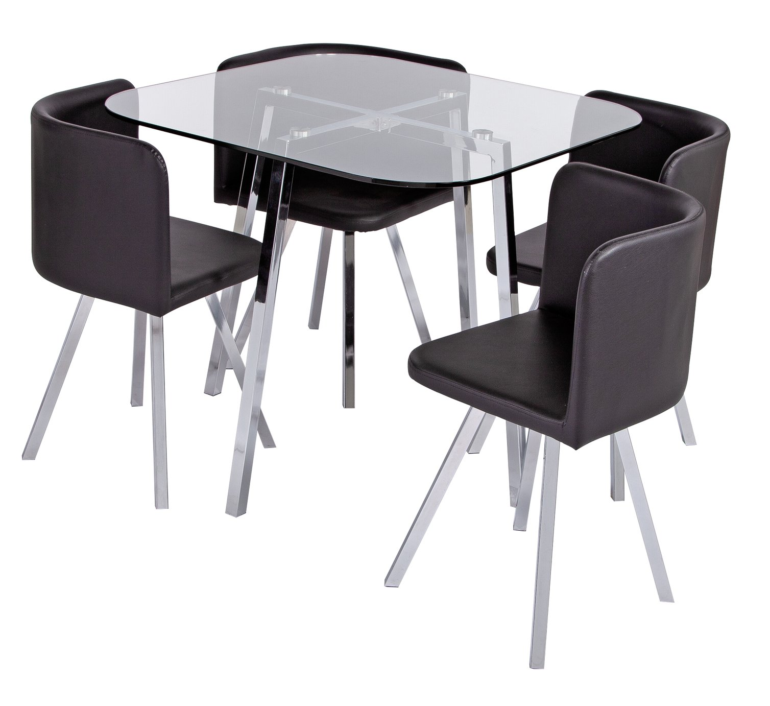 Argos Home Elsie Glass Dining Table & 4 Black Chairs