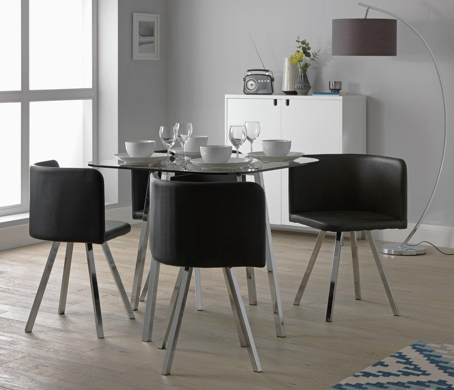 Argos Home Elsie Glass Dining Table and 4 Chairs Reviews