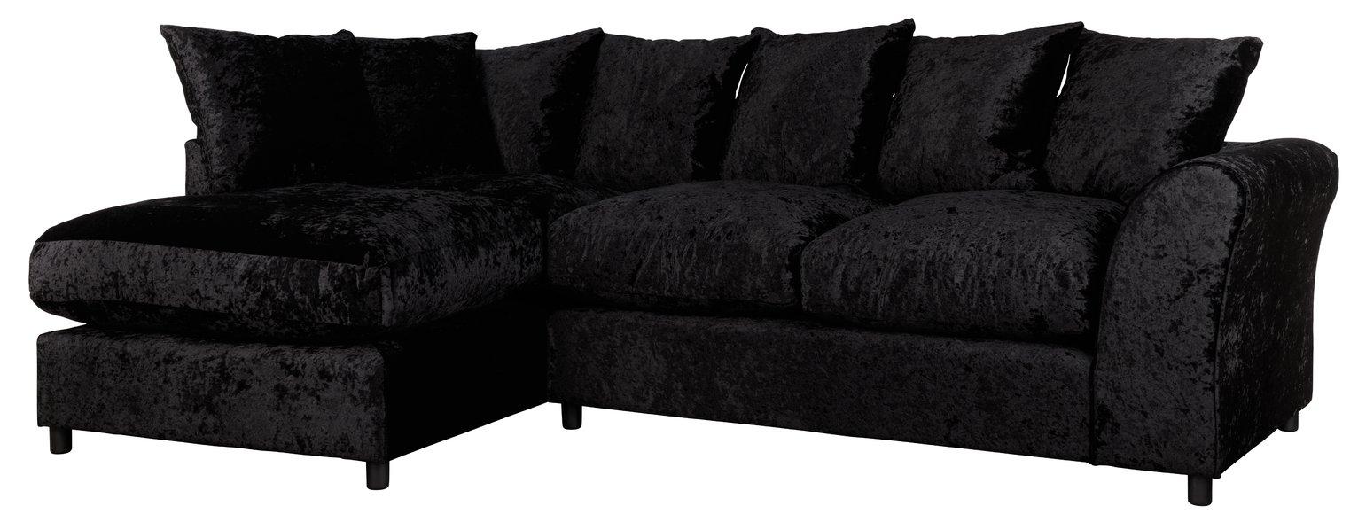 Argos Home Megan Large Left Corner Fabric Sofa - Black