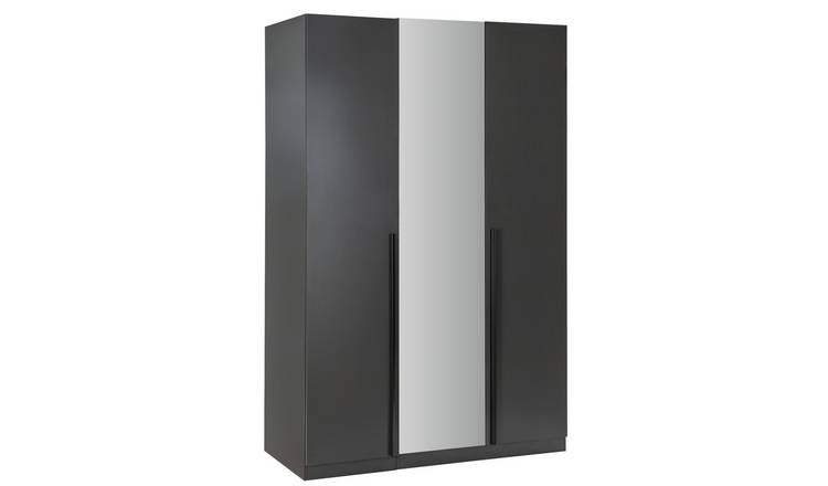 Habitat Munich 3 Door Mirror Wardrobe - Anthracite