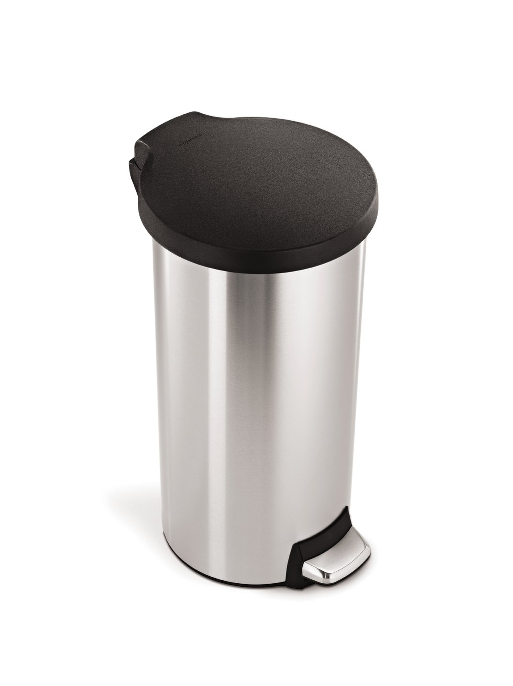 simplehuman 30L Round Pedal Bin - Brushed Stainless Steel.