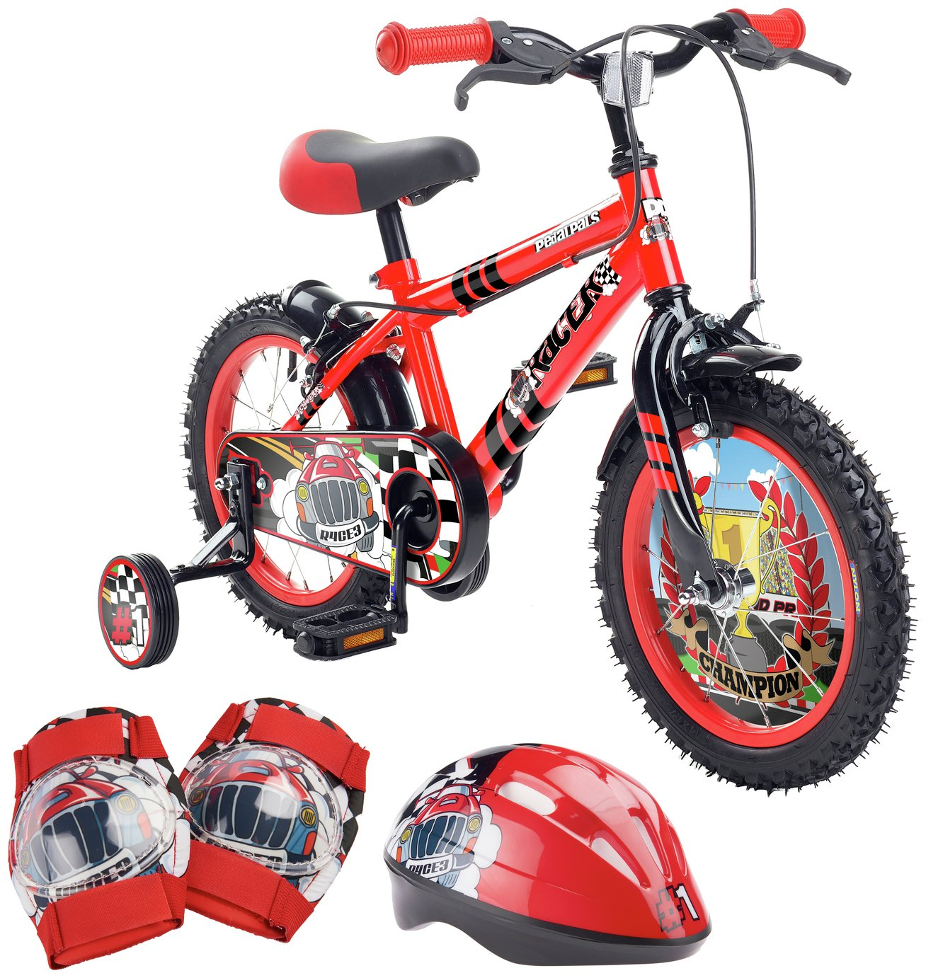 Pedal Pals 14 Inch Racer Kids Bike and Accessories Set