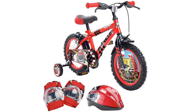 Pedal Pals Racer 14 inch Kids Bike, Helmet and Knee Pads