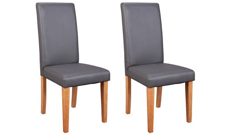 Habitat Pair of Midback Dining Chairs - Charcoal
