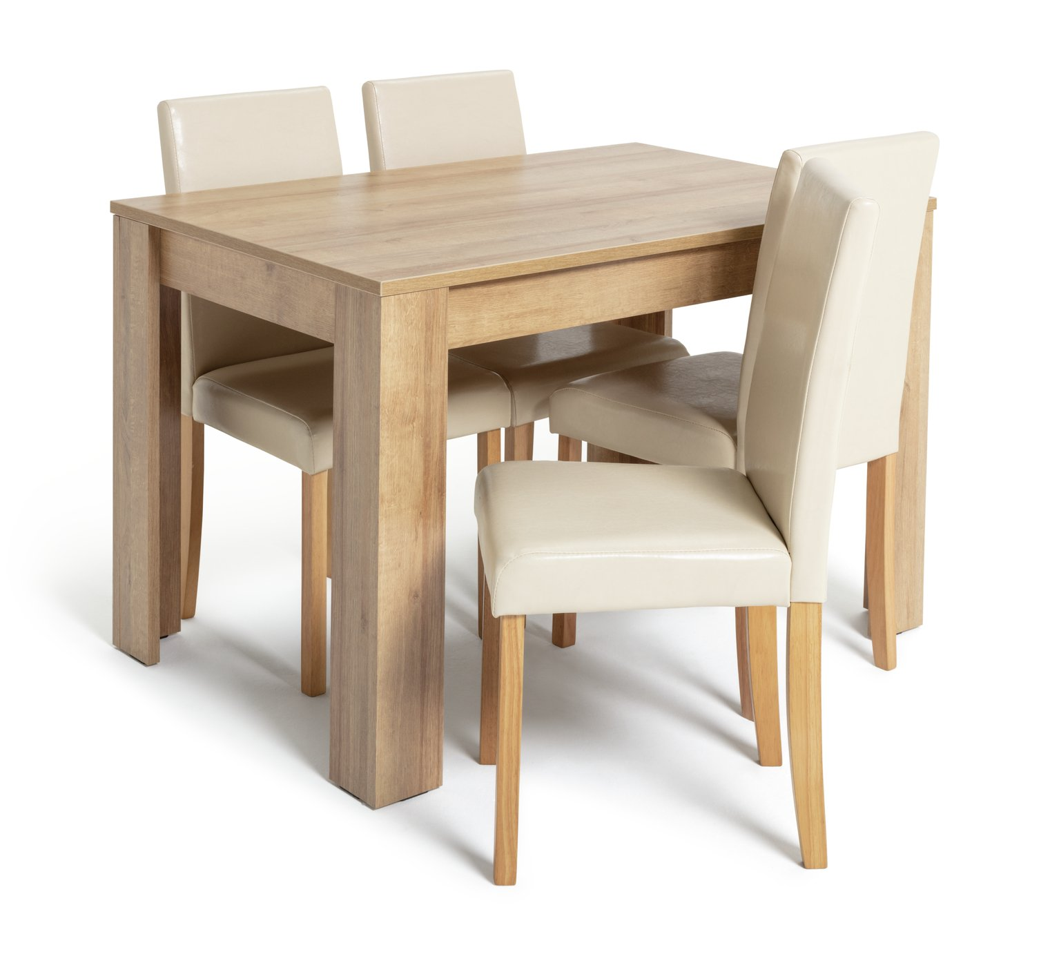 Argos Home Miami Oak Effect Dining Table & 4 Cream Chairs