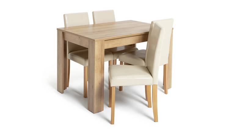 Habitat Miami Oak Effect Dining Table & 4 Cream Chairs