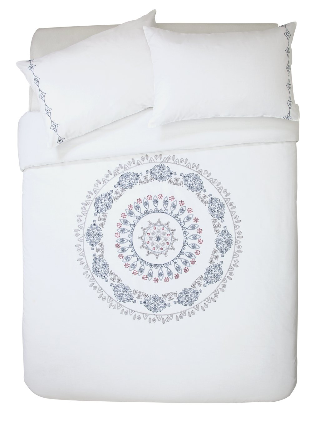 Argos Home Medallion Embroidered Bedding Set - Kingsize
