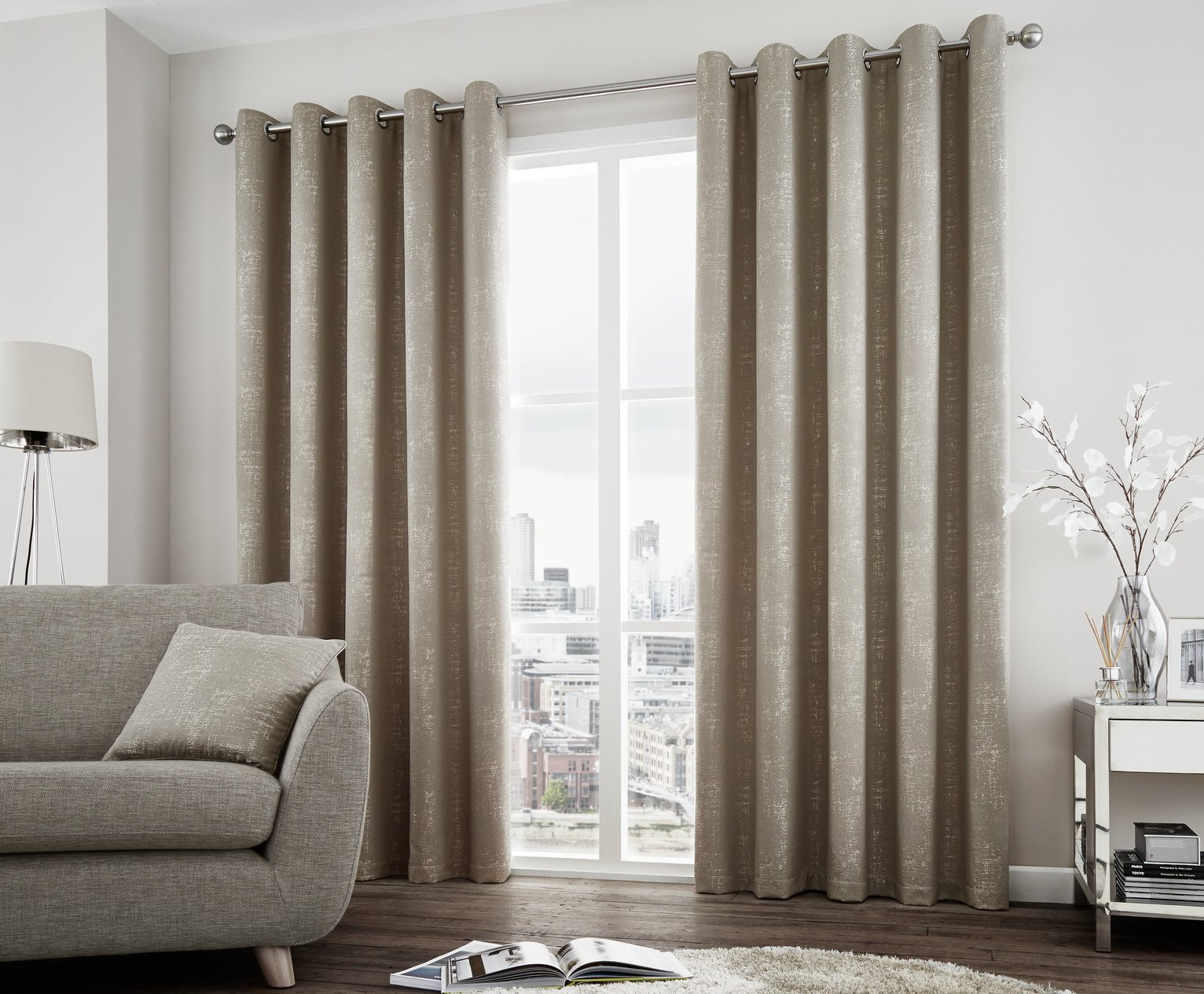 Curtina Solent Eyelet Curtains - 229x229cm - Stone
