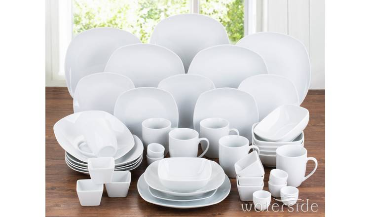 Waterside 42 Piece Porcelain Square Dinner Set - White