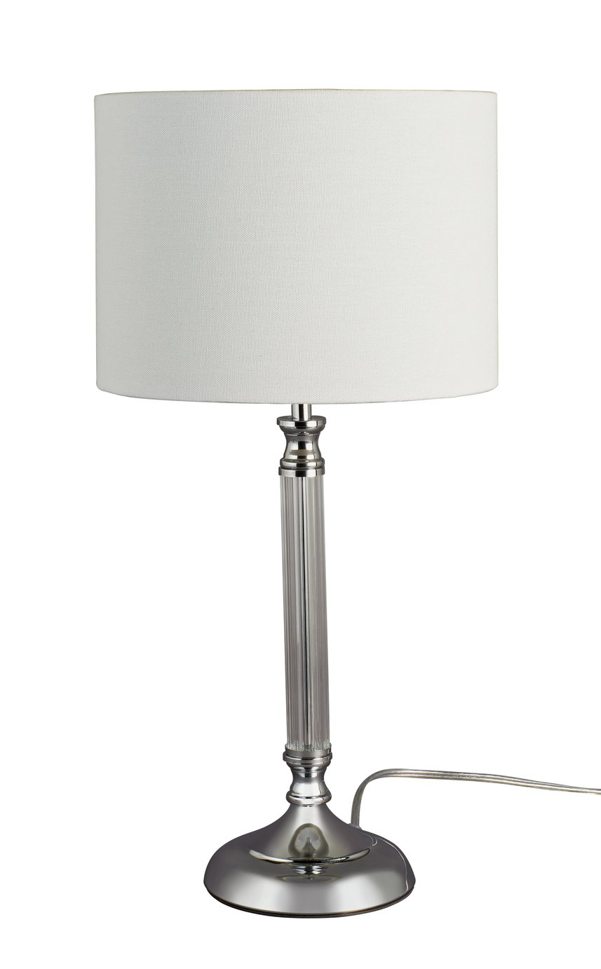 Argos Home Ruby Ribbed Table Lamp - Chrome