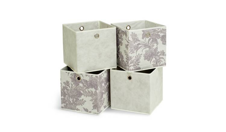 Argos Home Set of 4 Squares Boxes - Grey & Floral