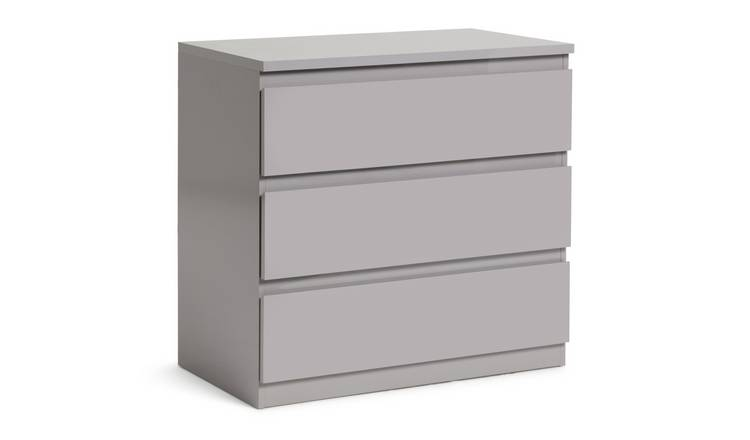 Argos Home Jenson 3 Drawer Chest - Grey Gloss