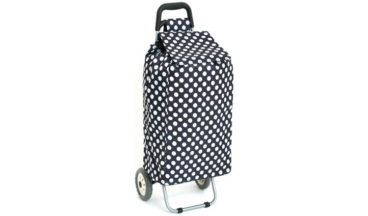 2 Wheel Folding Blue and White Polka Dot Shopping Trolley