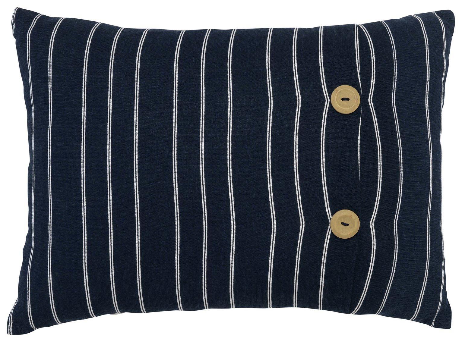 Sainsbury's Home Riviera Stripe Button Cushion - Navy