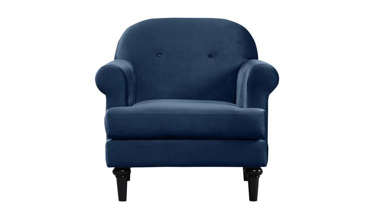 Buy Argos Home Whitney Velvet Armchair Blue Armchairs And