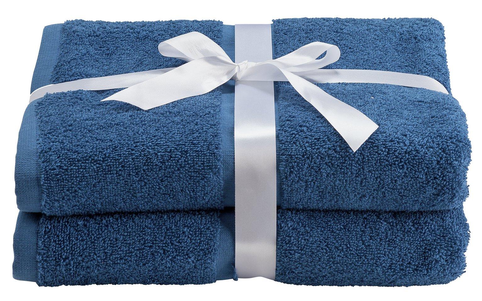 Argos Home Pair of Bath Towels - Ink Blue