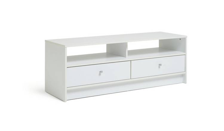 Argos Home Malibu 2 Drawer Wood Effect TV Unit - White