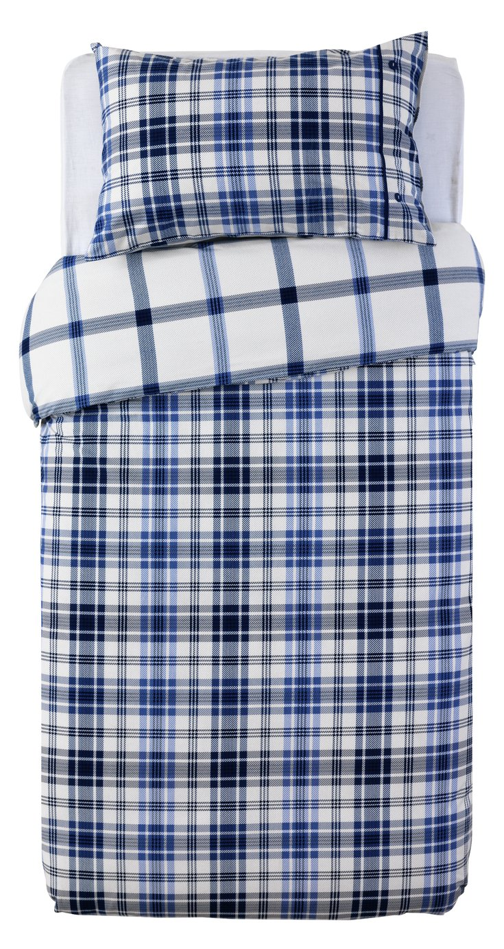 Sainsbury's Home Brushed Check Bedding Set - Single