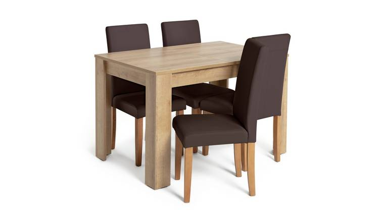 Habitat Miami Extending Table & 4 Chocolate Chairs