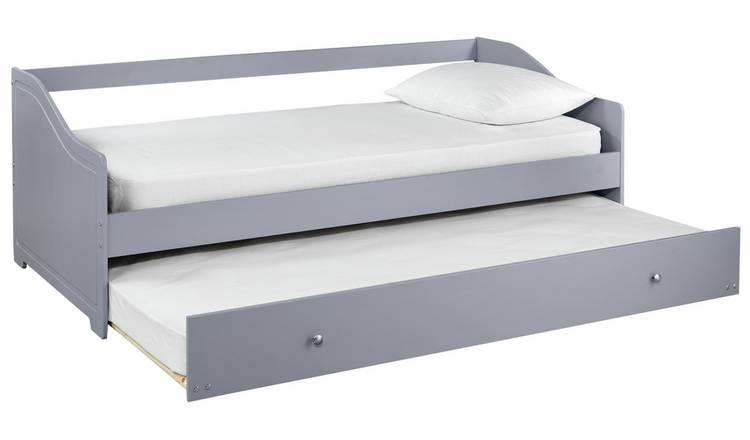 Argos Home Brooklyn Day Bed with Trundle and Mattress - Grey