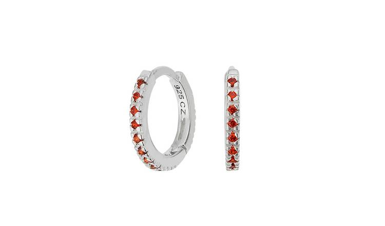 fbc500618a016 Buy Revere Sterling Silver Red Cubic Zirconia Huggie Hoops | Limited stock  Jewellery and watches | Argos