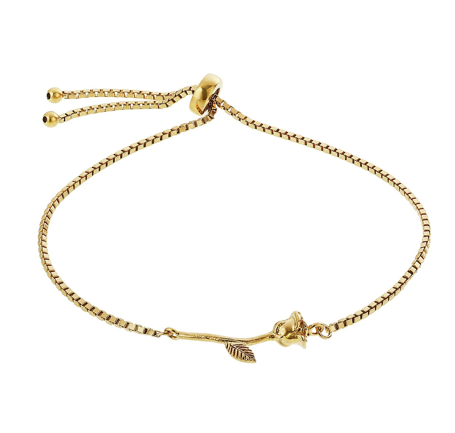 Disney Beauty and the Beast 9ct Gold Plated Silver Bracelet