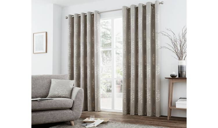 Curtina Elmwood Lined Curtains - 117x137cm - Stone