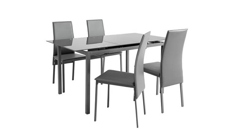 Argos Home Lido Glass Extending Dining Table & 4 Grey Chairs