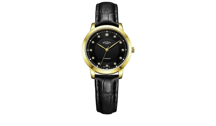 Rotary Ladies Diamond Set Dial Black Leather Strap Watch