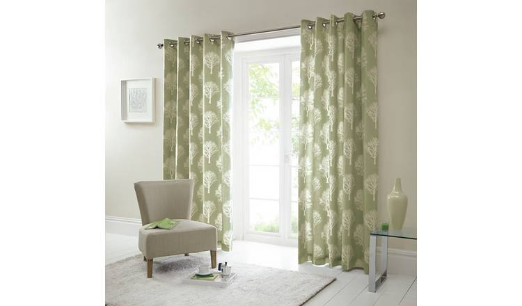 Fusion Woodland Trees Curtains - 117x182cm - Green.