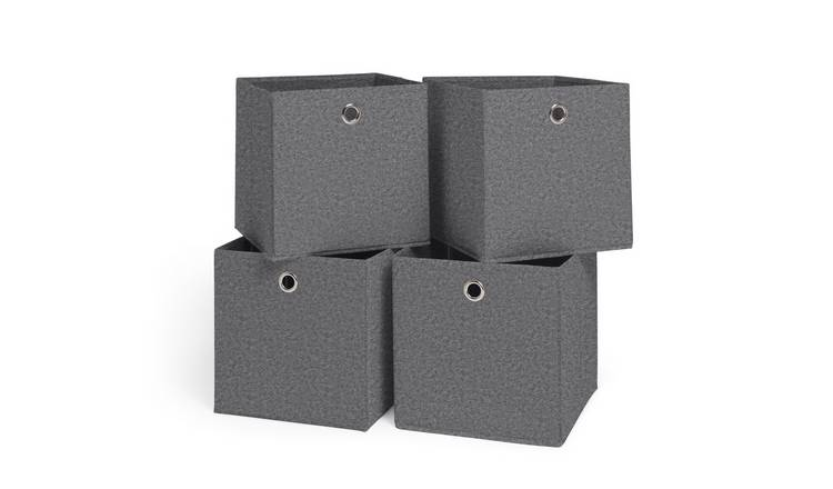 Argos Home Set of 4 Felt Squares Boxes - Grey