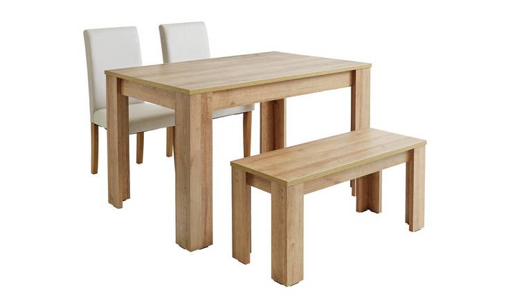 Argos Home Miami Oak Effect Table Bench And Chairs