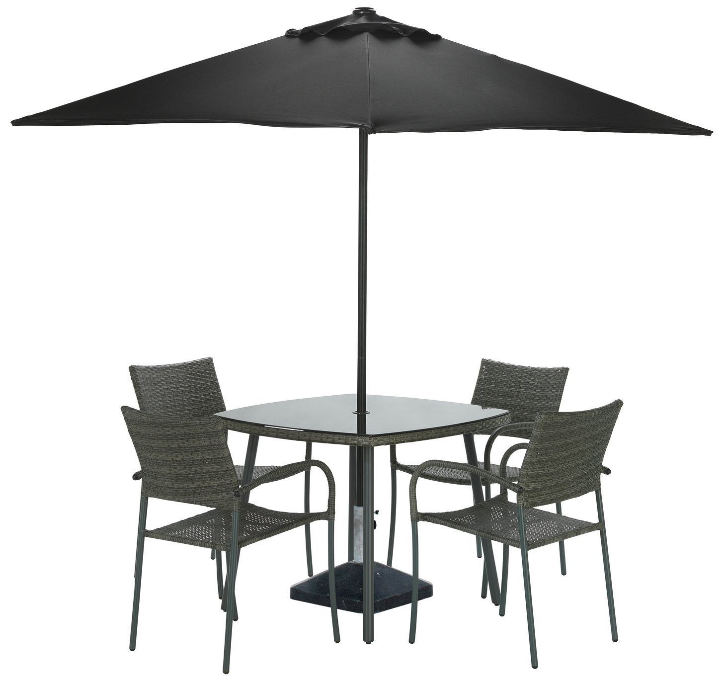 Argos Home Cusco Rattan 4 Seater Dining Set - Brown