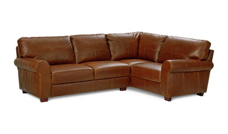 Habitat Salisbury Right Corner Leather Sofa - Tan