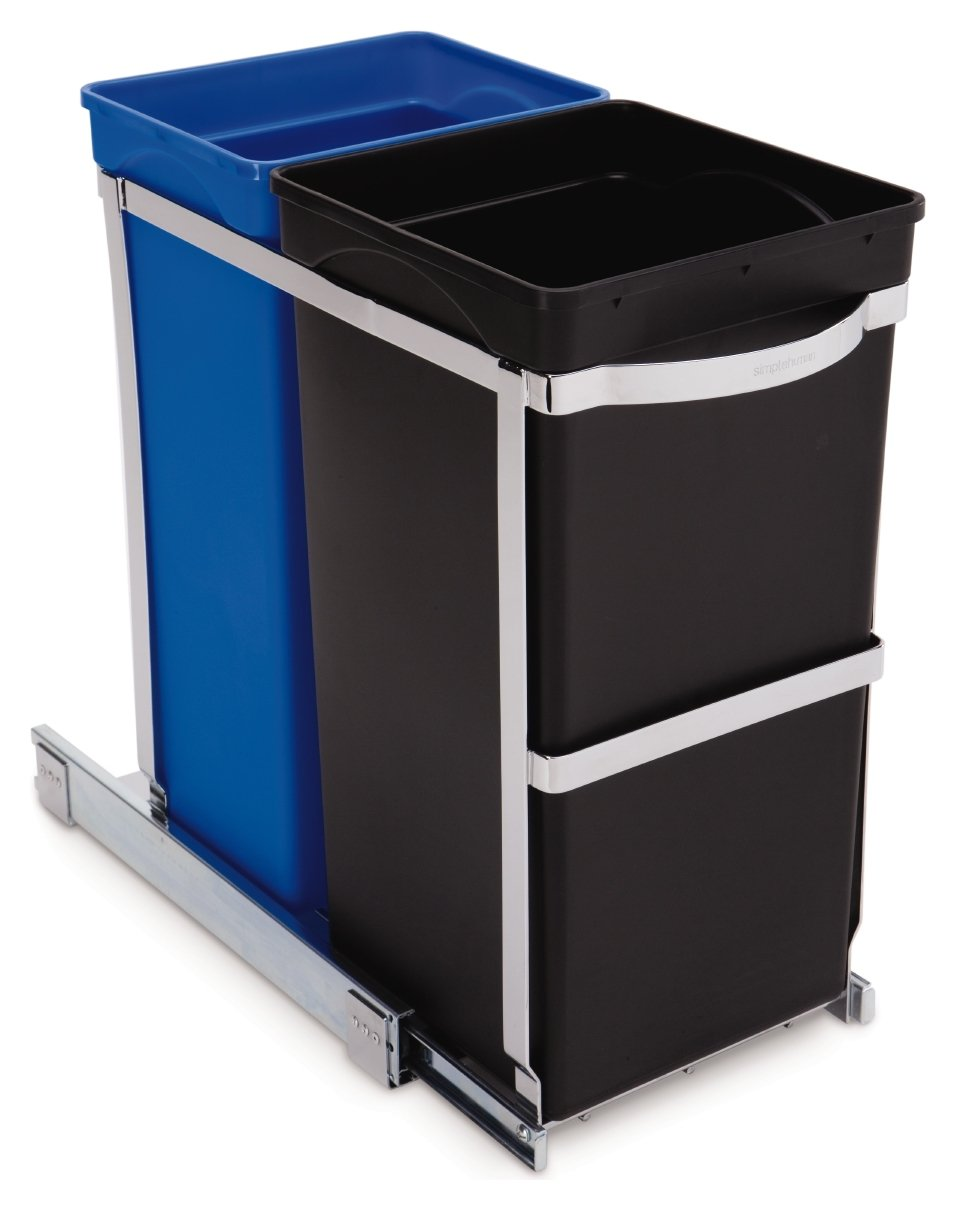 Simplehuman 35 Litre Recycle Bin in Cabinet - Multicoloured