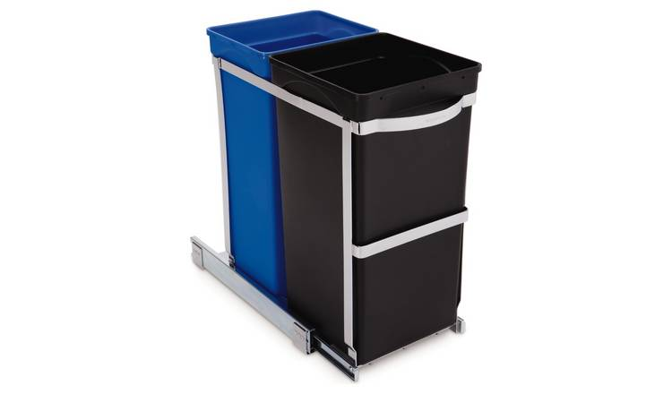 simplehuman 35 Litre Recyle Bin in Cabinet - Black and Blue