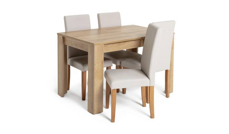 Habitat Miami Oak Effect Extending Table & 4 Cream Chairs