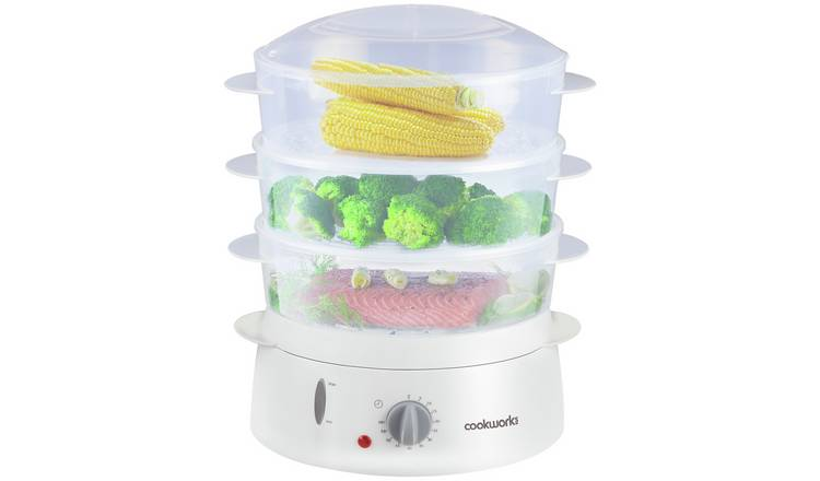 Cookworks 3 Bowl Steamer - White