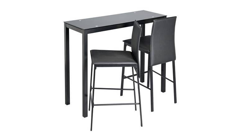 Argos Home Lido Glass Bar Table & 2 Black Chairs